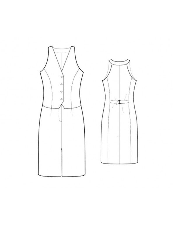 Fashion Designer Sewing Patterns - Sleeveless V-Neck Vest-Front Dress