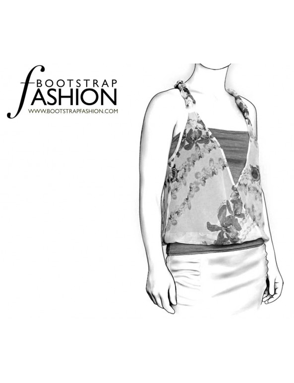 Fashion Designer Sewing Patterns - Two-layer Wrap Top With Braided Straps