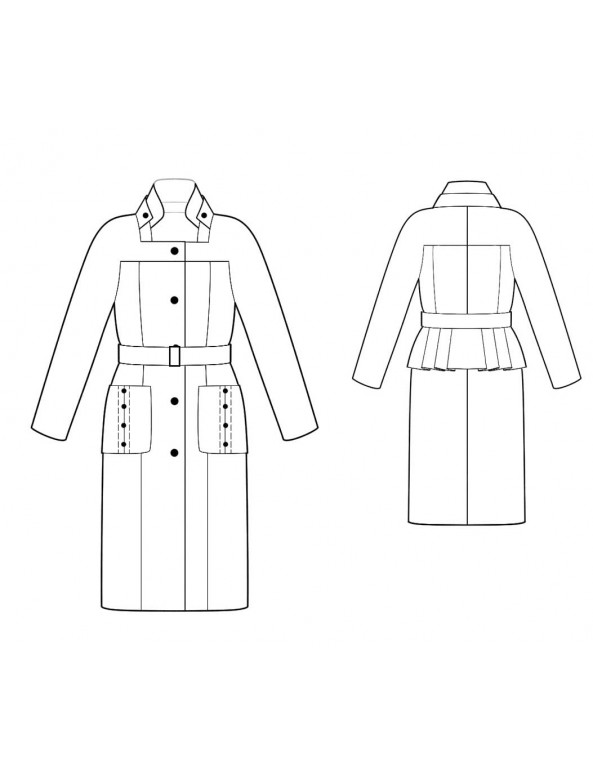 Fashion Designer Sewing Patterns - Military Style Fitted Coat