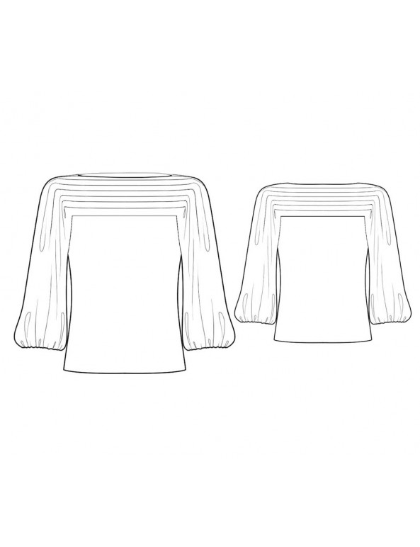 Fashion Designer Sewing Patterns - Boat-Neck Top with Balloon Sleeves