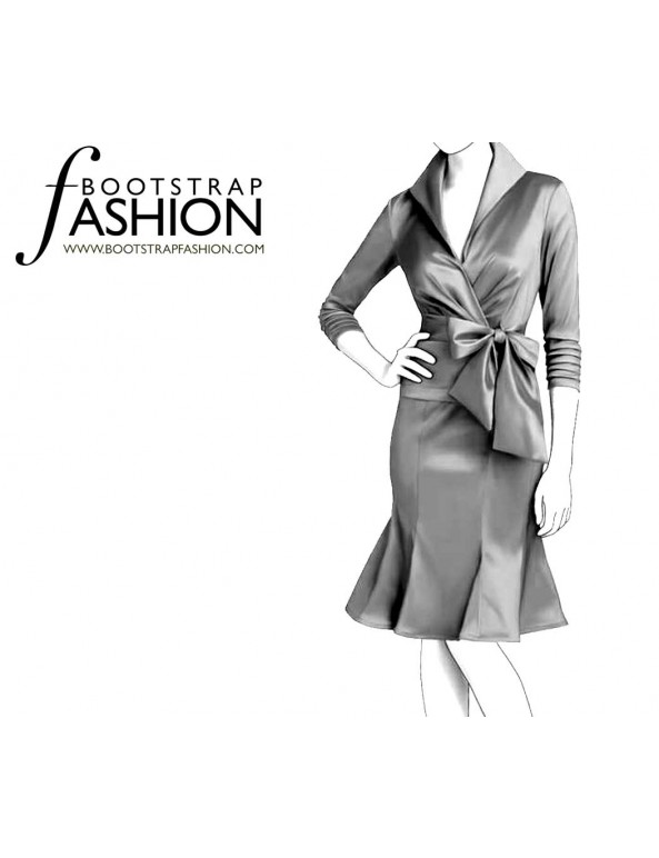 Fashion Designer Sewing Patterns - Pleated Wrap Dress