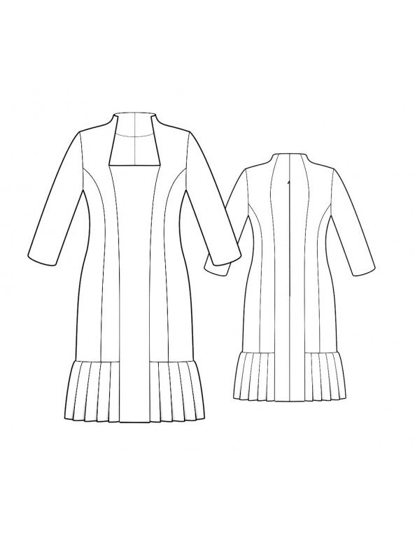 Fashion Designer Sewing Patterns - Princess Dress with Pleated Hem