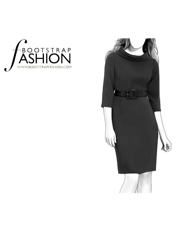 Fashion Designer Sewing Patterns - Belted Portrait Stand Collar Dress