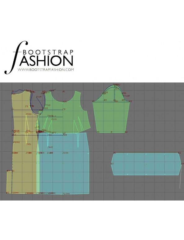 Fashion Designer Sewing Patterns - Belted Portrait Stand Collar Dress
