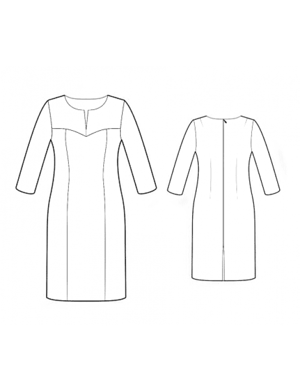 Fashion Designer Sewing Patterns -  Long Sleeve Slash Neck Dress