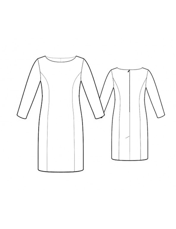 Fashion Designer Sewing Patterns - Boat-Neck Princess Seams Dress