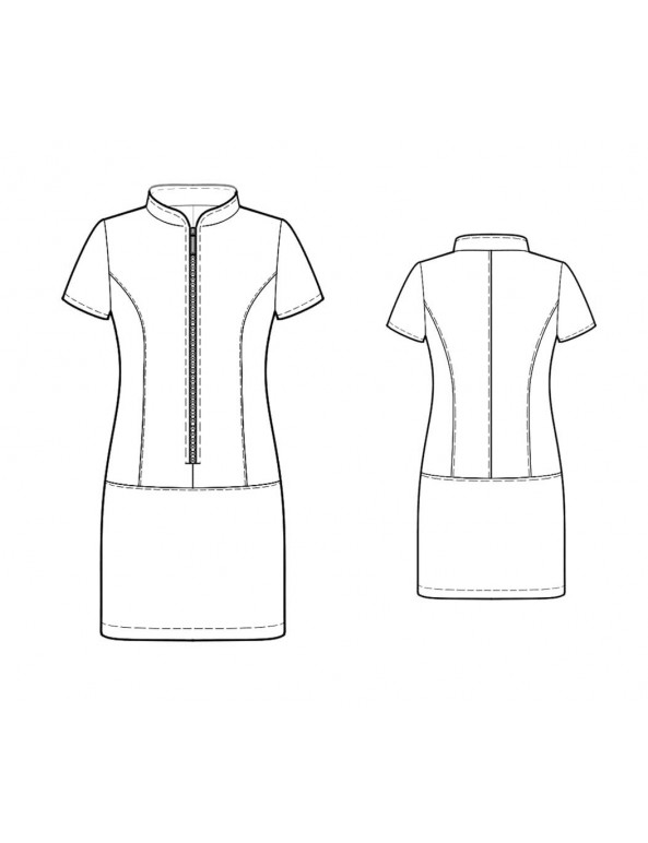 Fashion Designer Sewing Patterns - Short-Sleeved Zipper Dress