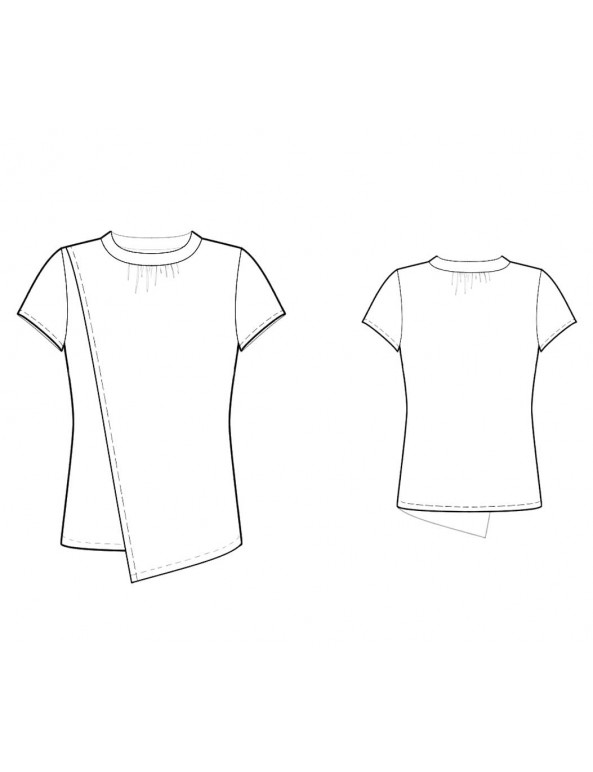 Fashion Designer Sewing Patterns - Round-Neck Blouse with Asymmetrical Drape