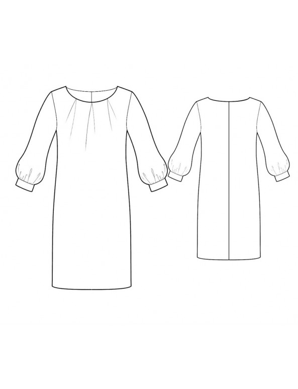 Fashion Designer Sewing Patterns - Pleated Scoop Neck Dress