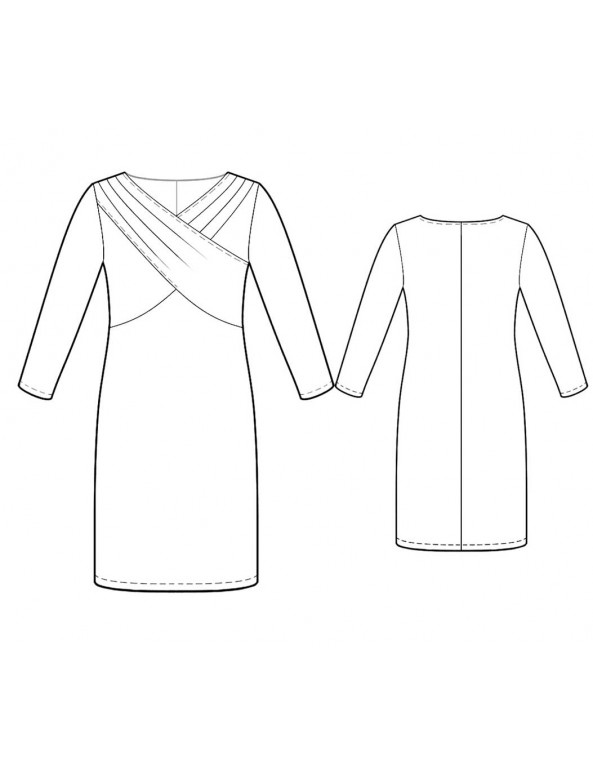 Fashion Designer Sewing Patterns - Cross Over Draped Bodice Dress