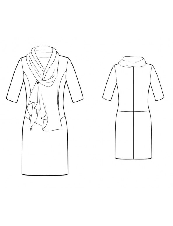 Fashion Designer Sewing Patterns - Draped-Neck, Drop-Waist Dress