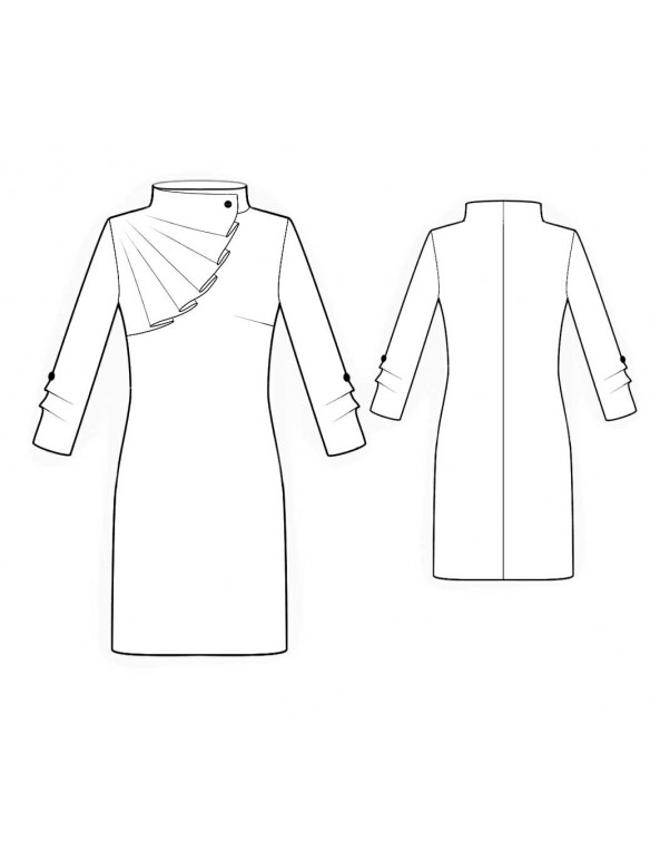 Fashion Designer Sewing Patterns - Long-sleeved Dress With Rruffle