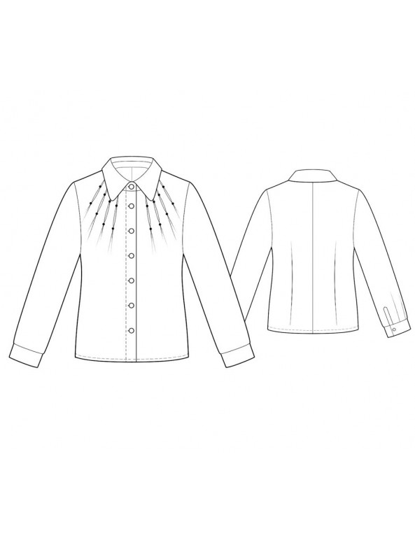 Fashion Designer Sewing Patterns - Long-Sleeved Button-Down Shirt with Darts