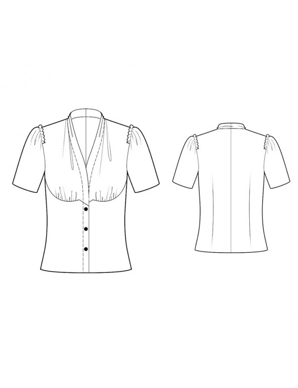 Fashion Designer Sewing Patterns - Short-Sleeved Drape-Neck Button-Down Blouse