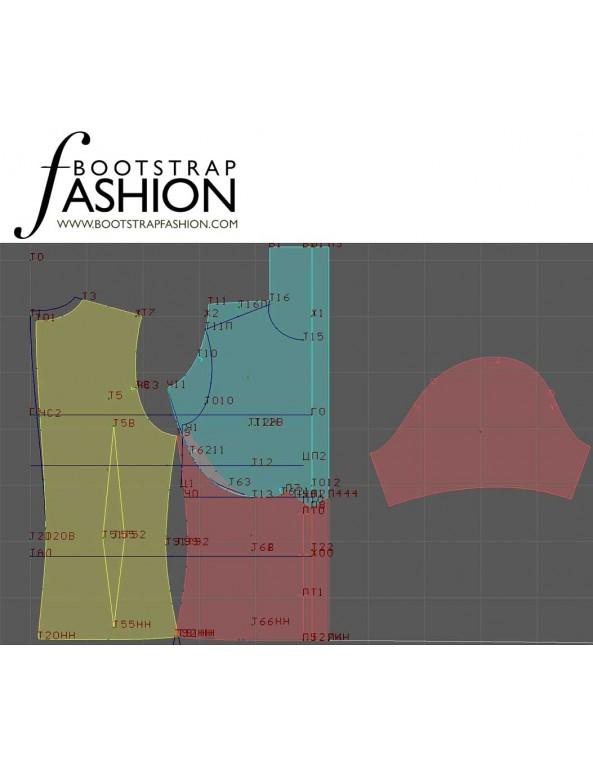 Fashion Designer Sewing Patterns - Short-Sleeved Drape-Neck Button-Down Blouse