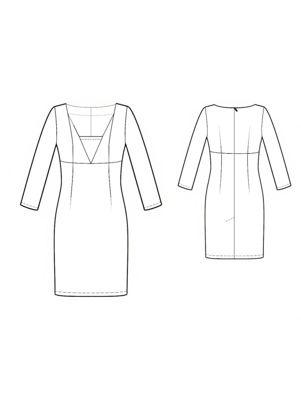 Fashion Designer Sewing Patterns - Long-Sleeved, Fitted, V-Neck Dress